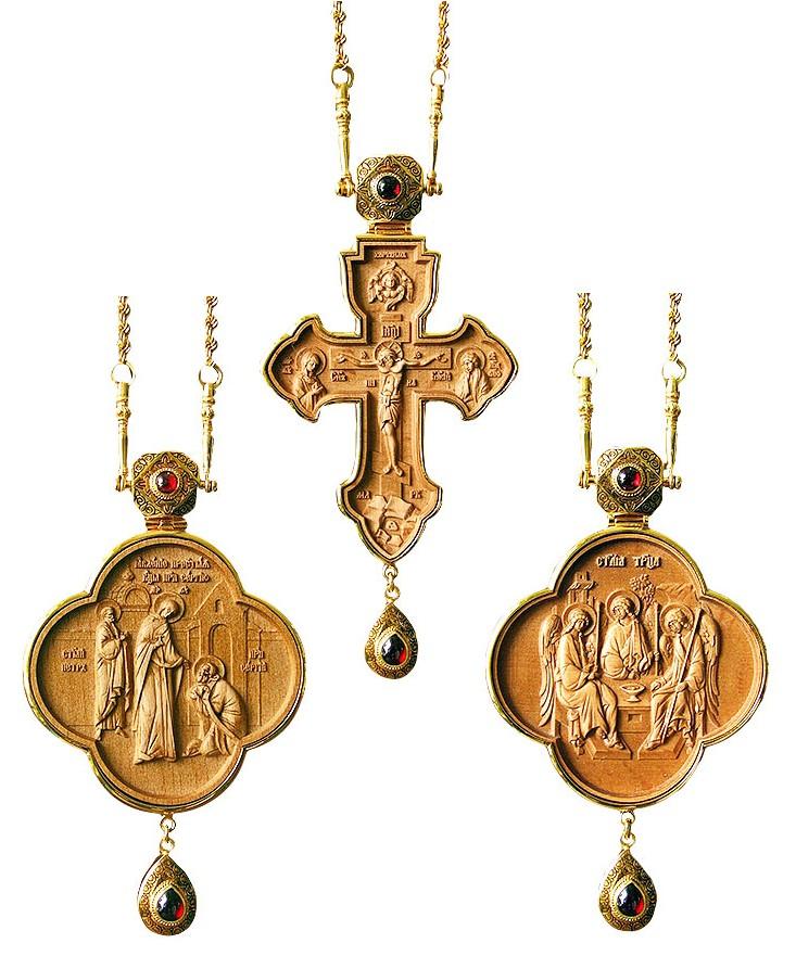 Набор для архиерея (крест и панагия) №700-3