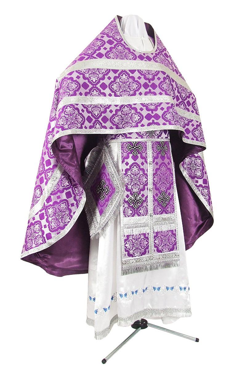 Иерейское русское облачение из шёлка Ш2 (фиолетовый/серебро)