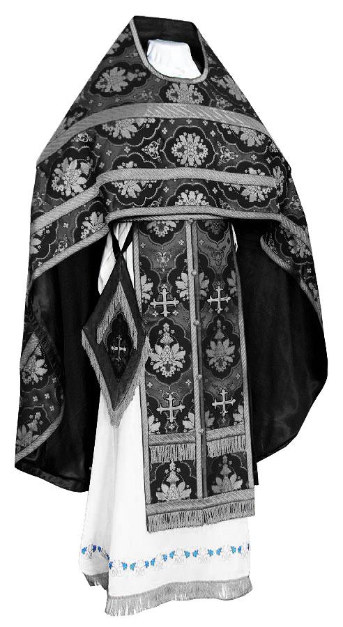 Иерейское русское облачение из шёлка Ш2 (чёрный/серебро)