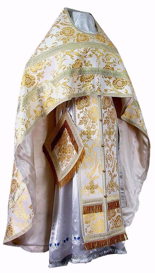 Иерейское русское облачение из шёлка Ш4 (белый/золото)