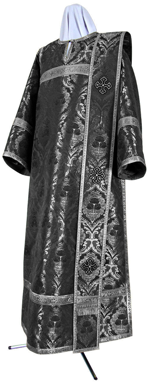 Дьяконское облачение из парчи ПГ6 (чёрный/серебро)