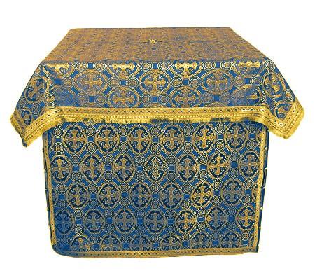 Облачение на жертвенник из парчи ПГ6 (синий/золото)