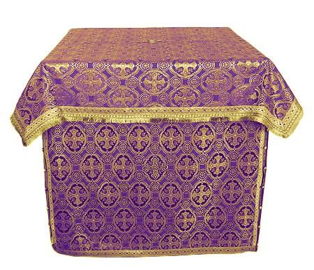 Облачение на жертвенник из шёлка Ш3 (фиолетовый/золото)