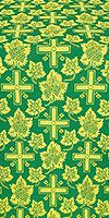 """Парча """"Ажурный крест"""" (зелёная/золото)"""