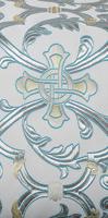 """Парча """"Кованый крест"""" (белая/серебро с голубым)"""