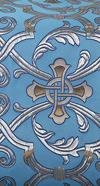 """Парча """"Кованый крест"""" (синяя/серебро с золотом, синей обводкой)"""