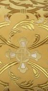 """Парча """"Кованый крест"""" (жёлтая/золото с серебром, с золотой обводкой)"""