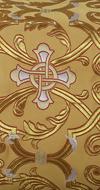 """Парча """"Кованый крест"""" (жёлтая/золото с серебром, с красной обводкой)"""