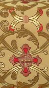 """Парча """"Кованый крест"""" (жёлтая/золото с красным)"""