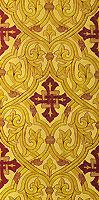 """Парча греческая """"Славянский крест"""" (жёлтая/золото с бордо)"""