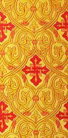 """Парча греческая """"Славянский крест"""" (жёлтая/золото с красным)"""