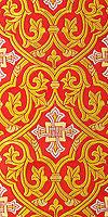 """Парча греческая """"Славянский крест"""" (красная/золото с серебром)"""