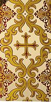 """Парча греческая """"Ромейский крест"""" (белая/золото с бордо)"""