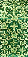 """Парча """"Малиновый крест"""" (зелёная/золото)"""