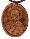 Медальон кожаный образ Спаса Вседержителя