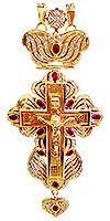 Крест наперсный с украшениями № 11 (красные камни)
