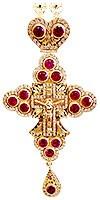 Крест наперсный с украшениями №32 (красные камни)