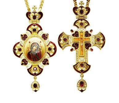 Комплект архиерейский (панагия + крест) - А13