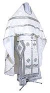 Иерейское русское облачение из шёлка Ш3 (белый/серебро)