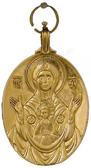 """Православный нательный образок: Икона Пресв. Богородицы """"Знамение"""""""