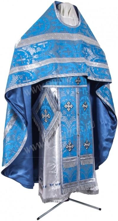 Иерейское русское облачение из парчи П (синий/серебро)