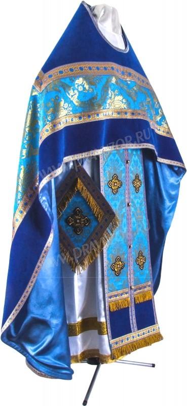 Иерейское русское облачение из парчи ПГ1 (синий/золото)