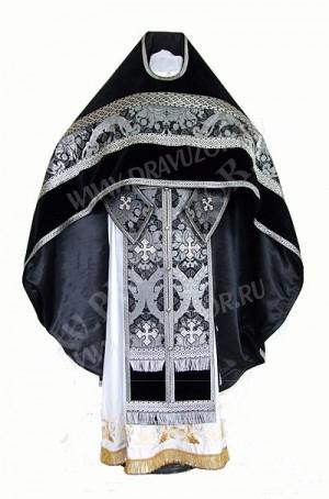 Иерейское русское облачение из парчи ПГ1 (чёрный/серебро)