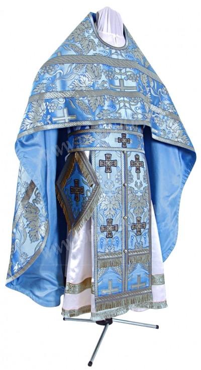 Иерейское русское облачение из парчи ПГ3 (синий/серебро)