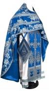 Иерейское русское облачение из парчи ПГ4 (синий/серебро)