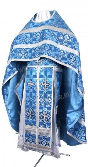 Иерейское русское облачение из шёлка Ш2 (синий/серебро)