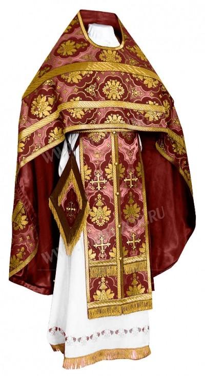 Иерейское русское облачение из шёлка Ш2 (бордовый/золото)