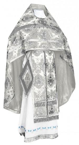 Иерейское русское облачение из шёлка Ш2 (белый/серебро)