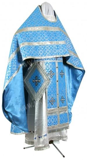 Иерейское русское облачение из шёлка Ш3 (синий/серебро)