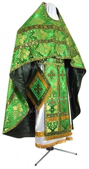 Иерейское русское облачение из шёлка Ш3 (зелёный/золото)