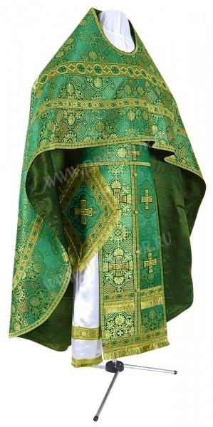 Иерейское русское облачение из шёлка Ш4 (зелёный/золото)