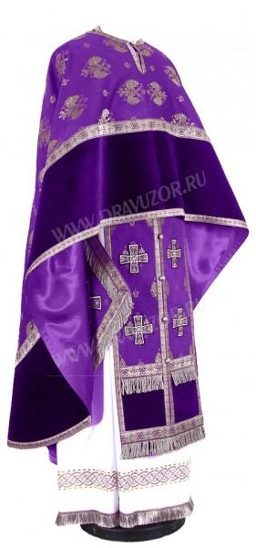Греческое иерейское облачение из парчи П (фиолетовый/серебро)