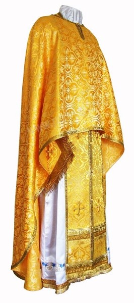 Греческое иерейское облачение из шёлка Ш2 (жёлтый-бордо/золото)
