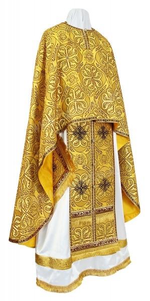Греческое иерейское облачение из шёлка Ш3 (жёлтый-бордо/золото)