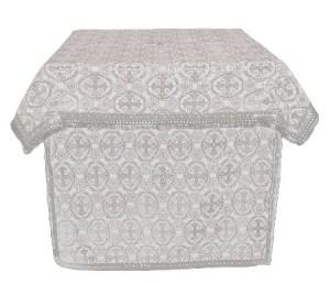 Облачение на престол из парчи ПГ3 (белый/серебро)