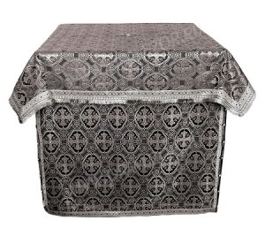 Облачение на престол из парчи ПГ4 (чёрный/серебро)