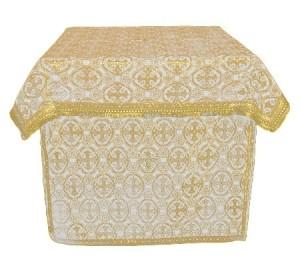 Облачение на престол из парчи ПГ4 (белый/золото)