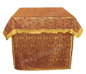 Облачение на жертвенник из парчи ПГ4 (бордовый/золото)