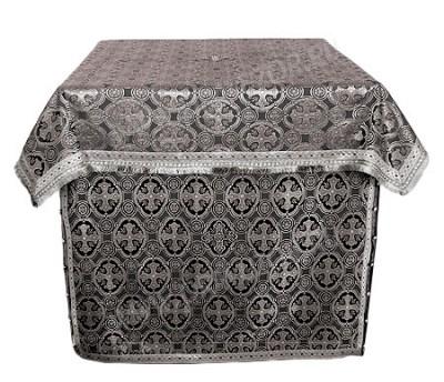 Облачение на жертвенник из парчи ПГ4 (чёрный/серебро)