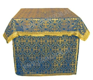 Облачение на жертвенник из парчи ПГ5 (синий/золото)
