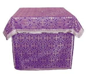 Облачение на жертвенник из парчи ПГ6 (фиолетовый/серебро)