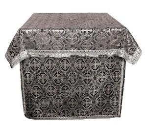 Облачение на жертвенник из парчи ПГ6 (чёрный/серебро)