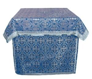 Облачение на жертвенник из шёлка Ш3 (синий/серебро)
