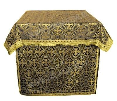 Облачение на жертвенник из шёлка Ш3 (чёрный/золото)