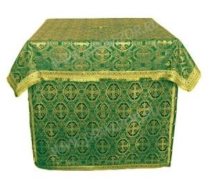 Облачение на жертвенник из шёлка Ш3 (зелёный/золото)