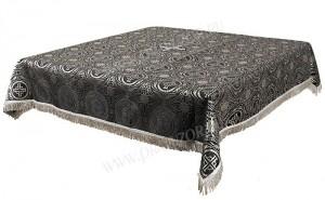 Пелена на престол/жертвенник из парчи ПГ2 (чёрный/серебро)